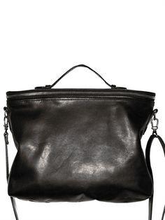 Ann Demeulemeester, veg tanned leather black satchel S/S '11