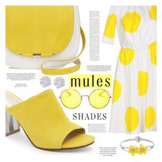 """Slip Em On: Mules"" by aislinnhamilton1993 ❤ liked on Polyvore featuring Nine West, Blugirl Folies, Ray-Ban, xO Design, Effy Jewelry, Spring, yellow, mules and shades"
