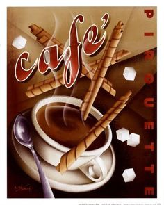 French Bistro Cafe Art Print Kitchen ~ ☮~ღ~*~*✿⊱ レ o √ 乇 ! ~ Cafe Pirouette by Michael Kungl art print Coffee Latte, I Love Coffee, Coffee Break, Coffee Time, Morning Coffee, Coffee Shop, Coffee Aroma, Espresso Coffee, Coffee Lovers