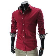 (HA218-RED) Slim fit Stretchy Long Sleeve Pattern Patched Shirts