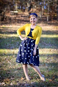 Fresh Modesty: Law + Gospel // in Navy Blue Polkadots and Yellow! Navy Dress Outfits, Navy Blue Dresses, Modest Dresses, Modest Outfits, Modest Fashion, Fashion Dresses, Modest Clothing, Clothing Sets, Clothing Styles