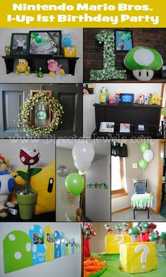 Nintendo Super Mario Brothers 1-Up Mushroom 1st Birthday Party