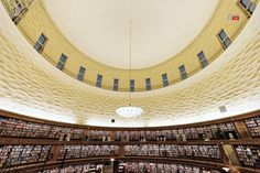 Ceiling of the City library - Ceiling of the city library or Stadsbiblioteket with its rotunda at Observatorielunden. December 13, 2014 in Stockholm, Sweden. The library was opened in March 31, 1928
