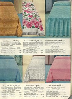 1960s chenille bedspreads, vintage chenille bedspreads Antique Bedroom Furniture, Bedroom Vintage, Vintage Home Decor, Vintage Bedding, Chenille Bedspread, Bedspreads, Retro Ads, Vintage Ads, Linen Sheets