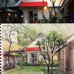 Iga Bakar Tandhok & Kopi Resto, Semarang water colour sketch