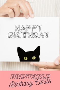 Birthday Card Cat DIGITAL DOWNLOAD Birthday Cards For Men, Funny Birthday Cards, Cat Birthday, Birthday Gifts, Happy Birthday Printable, Free Printable Cards, Online Printing Companies, Greeting Cards, Gift Ideas