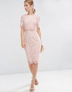 ASOS | ASOS Lace Crop Top Midi Pencil Dress