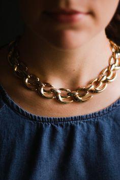 Gold vintage choker collar necklace, signed wm, mid century / nutmegan on Etsy, $30.00