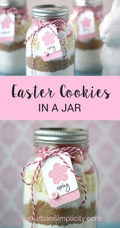 Easter Cookies in a jar make a perfect DIY gift for whoever is hosting your Easter brunch! Or surprise your neighbor or child's teacher with a homemade springtime treat | Recipe