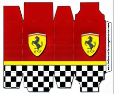 Ferrari: Free Printable Boxes. Click on link for free template. http://eng.ohmyfiesta.com/2014/03/ferrari-free-printable-boxes.html