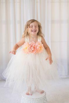 Ivory Wedding - Flower Girl Tutu Dress with Peach Flower Trim