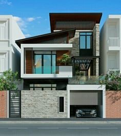 The modern home exterior design is the most popular among new house owners and those who intend to become the owner of a modern house. House Outer Design, House Front Design, Modern House Design, Bungalow Exterior, Bungalow House Design, Dream House Exterior, Design Exterior, Facade Design, House Design Pictures