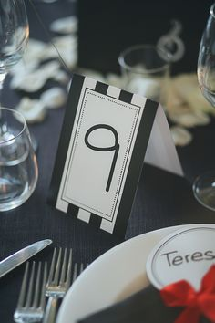 Table Number Card Black White Wedding