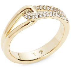 Kate Spade New York Get Connected Crystal Pave Loop Ring ($58) ❤ liked on Polyvore featuring jewelry, rings, gold, crystal jewellery, pave crystal jewelry, crystal rings, gold tone jewelry and pave jewelry