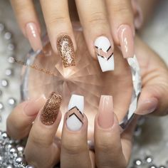 Pink and Gold Ballerina Nail Art - 10 Impressive Coffin Nails – Ballerina nail designs