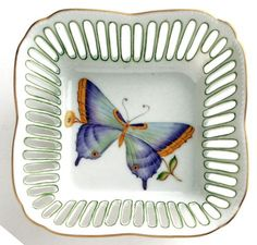 Anna Weatherley Square Dish Butterfly Green