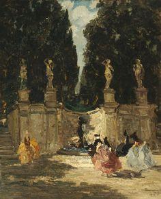 Fontana dei Lauri, Emma Ciardi. Italian (1879 - 1933)- Oil on Canvas -