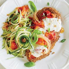 Chicken Parmesan with Zucchini Noodles. This recipe cuts carbs and calories in half!! Now I know how to make zoodles.