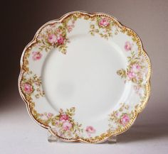 "HAVILAND LIMOGES PORCELAIN 8.5"" PLATE, DOUBLE  GOLD, LOTS OF ROSES, PERFECT"