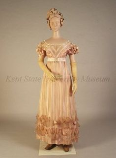 1820-29 Pink and white figured silk gauze with scallops and bows of pink silk with pink satin.