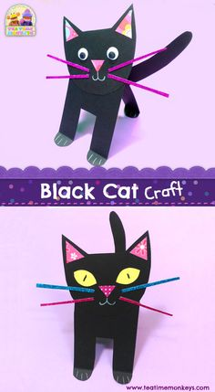 Here's a cute black cat craft that kids will love to make for Halloween! It's really easy for little ones to put together themselves and looks very sweet sitting on a windowsill or shelf. Halloween Cat Crafts, Halloween Theme Preschool, Halloween Tumblr, Preschool Crafts, Halloween Makeup, Kids Crafts, C Is For Cat, Fall Arts And Crafts, Cat Activity