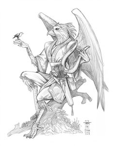 Rielle by Everwho on DeviantArt Bird People, D D Characters, Fun Challenges, Deities, Dungeons And Dragons, Coloring Pages, Weird, Sketches, Deviantart