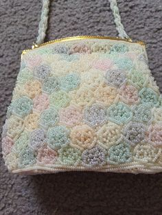 Vintage Micro Beaded Purse Evening Bag Pastel Colors Gold Tone Clasp Walborg H.K