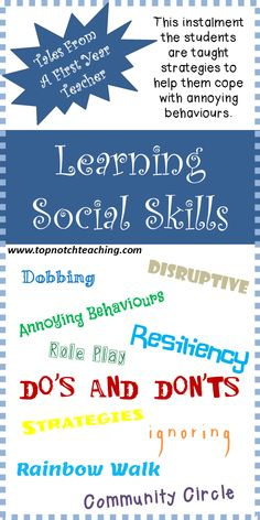 Being a first year teacher is both rewarding and challenging and definitely has its ups and downs. This instalment the students are taught strategies to help them cope with annoying behaviours. http://topnotchteaching.com/personal/learning-social-skills/