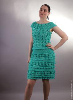 """платье """" Дама в бирюзовом...."""" - морская волна,вязанное платье,вязанное крючком платье"""