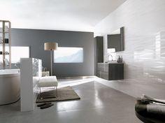 Deco Berlin White wall tiles by Venis floor: rhin natural Bathroom Feature Wall Tile, Modern Bathroom Tile, Bathroom Ideas, Bath Ideas, Master Bathroom, White Wall Tiles, Wall And Floor Tiles, Tiles For Sale, House Tiles