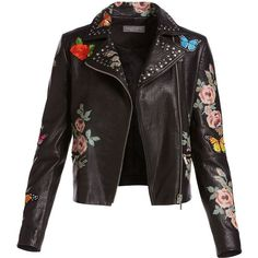 Neiman Marcus Painted Floral Leather Jacket w/ Embroidered Patches (£475) ❤ liked on Polyvore featuring outerwear, jackets, coats & jackets, tops, coats, leather motorcycle jacket, biker jackets, embroidered leather jacket, patch jacket and slim leather jacket