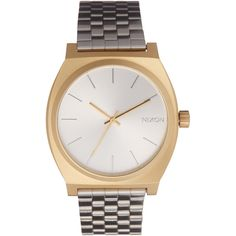 Nixon Silver Time Teller Watch ($120) ❤ liked on Polyvore featuring jewelry, watches, buckle jewelry, crown jewelry, silver jewelry, silver wrist watch and nixon