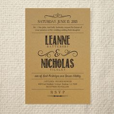DIY Kraft Paper Wedding Invitation  by AmyAdamsPrintables on Etsy, $25.00