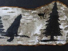 Wolf painting on Birch bark in black frame Wolf birch bark