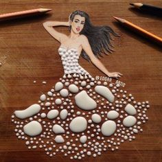 Creative Art / Funny Art ideas : Edgar Artis is an Armenian illustrator who uses a fascinating mix of paper cut outs and pencil drawings using everyday objects. Dress Design Sketches, Fashion Design Drawings, Fashion Sketches, Dress Designs, Fashion Illustrations, Gown Drawing, Kleidung Design, Arte Black, Arte Fashion