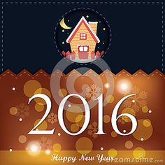Illustration of sweet house in christmas eve for new year 2016 greeting card in dark blue orange with light bubble illumination and snowflake