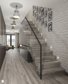 absolutely love the stairs, the glass, the wallpaper AND the photos on wall (B&W) PERFECT