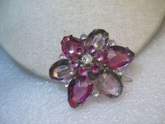 """Pair Rhinestone Blossom Barrettes, Pink and Clear, 1.75"""", Tiered, 1980's"""