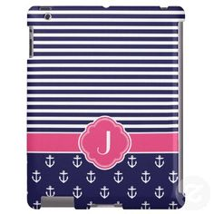 Navy Blue & Pink Preppy Nautical Custom Monogram Case-Mate iPad Cases