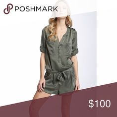 Joie 'Acacia' Silk Romper Drop waist silk charmeuse romper designed with a relaxed, easy shape. Doesn't come with belt. Great condition and never has been worn. Fits size 4-6. Has Front button half placket, Cuffed button-tab sleeves.Front pockets. Is Unlined. 100% Silk; dry clean. Joie Pants Jumpsuits & Rompers