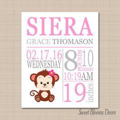 Monkey Birth PrintMonkey Birth by SweetBloomsDecor on Etsy