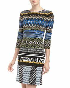 T6YU0 muse Mixed-Stripe Jersey Shift Dress, Blue/Multi