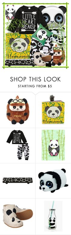 """Lil Cute Panda🐼"" by anniecy ❤ liked on Polyvore featuring Jellycat, Hickory Hardware, Donsje, Boohoo, panda, kids and pandastyle"