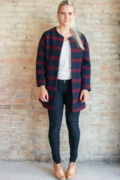 #cacoon #striped #navyblue #pockets #cotton #tweed #fallcolors #fallfashion #fallstyle