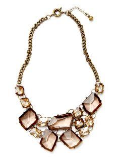 Leslie Danzis Glass Stone Cluster Bib Necklace