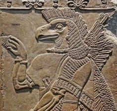 Eagle-headed spirit from the temple of Ninurta in Nimrud, Assyria, BCE. Ninurta was the Sumerian war-god who defeated a number of beasts and demons. The myths of his travels and struggles against. Ancient Persian, Ancient Egyptian Art, Ancient Aliens, Ancient History, Greek Titans, World History Facts, Modern Wall Sculptures, Egypt Museum, Egypt