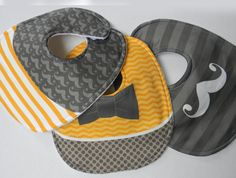 Mustard Yellow and Grey Chevron with Bowtie, Mustache, Organic Sateen Baby BOY Bib Set of 3 on Etsy, $20.00