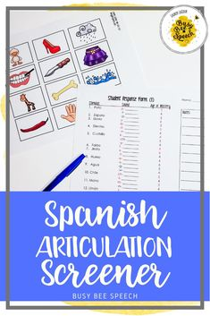 This Spanish articulation screening tool is great for assessing whether a student needs further evaluation in the area of Spanish articulation skills.