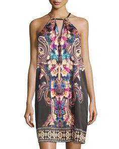 TCVU2 5Twelve Printed Halter Dress, Black Multi