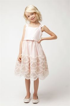 6c712ef6743 Flower Girl Dresses SK491PK   Rosette and cord emb. scallop skirt